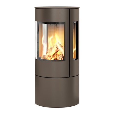 Rais Viva 100L Balanced Flue Gas Stove Mocha Metal Framed Door Side Glass Windows