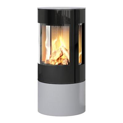 Rais Viva 100L Balanced Flue Gas Stove Silver Black Glass Framed Door Side Glass Windows