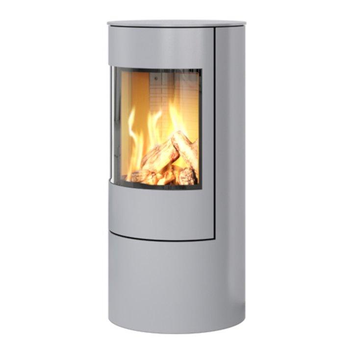 Rais Viva 100L Balanced Flue Gas Stove Silver Metal Framed Door Solid Sides - Silver Filigree