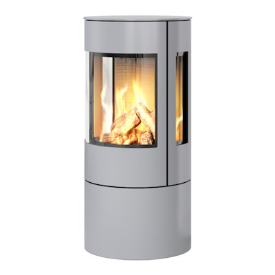 Rais Viva 100L Balanced Flue Gas Stove Silver Metal Framed Door Side Glass Windows