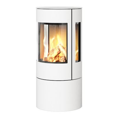 Rais Viva 100L Balanced Flue Gas Stove White Metal Framed Door Side Glass Windows