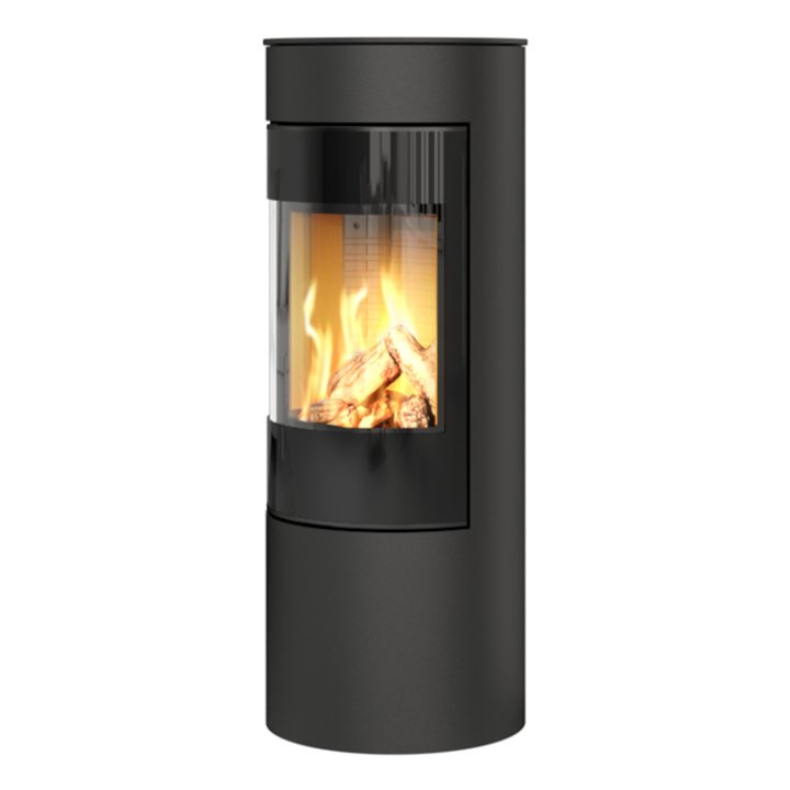 Rais Viva 120L Balanced Flue Gas Stove Black Black Glass Framed Door Solid Sides - Black