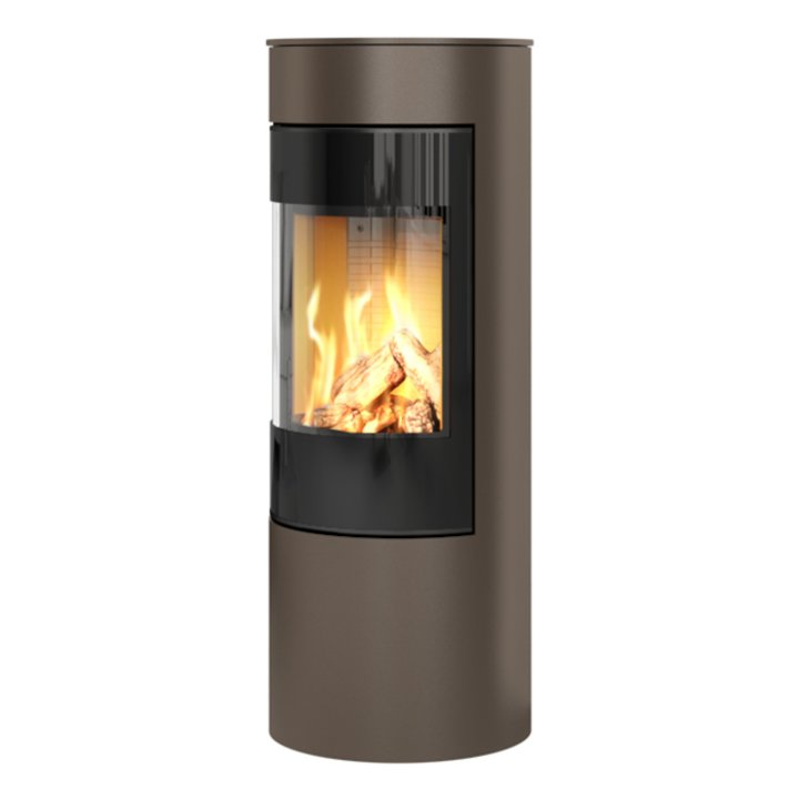 Rais Viva 120L Balanced Flue Gas Stove Mocha Black Glass Framed Door Solid Sides - Mocha