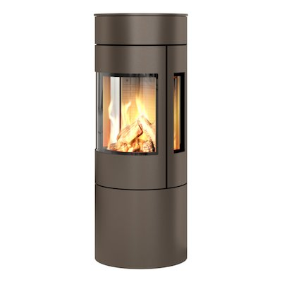 Rais Viva 120L Balanced Flue Gas Stove Mocha Metal Framed Door Side Glass Windows