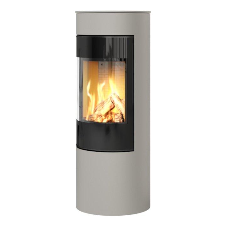 Rais Viva 120L Balanced Flue Gas Stove Nickel Black Glass Framed Door Solid Sides - Nickel