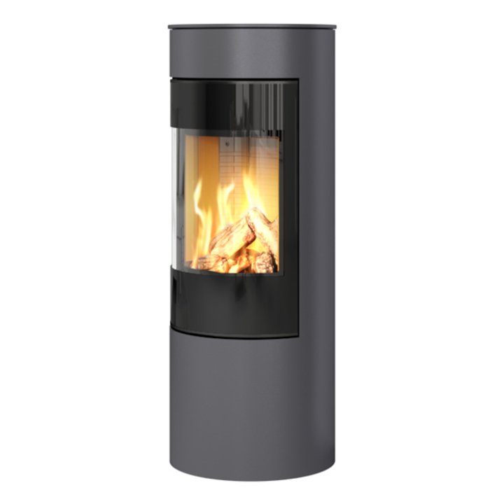 Rais Viva 120L Balanced Flue Gas Stove Platinum Black Glass Framed Door Solid Sides - Platinum