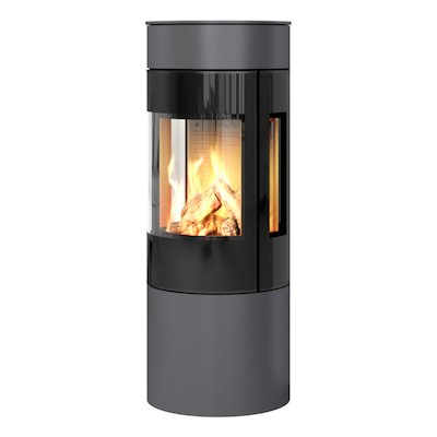 Rais Viva 120L Balanced Flue Gas Stove Platinum Black Glass Framed Door Side Glass Windows