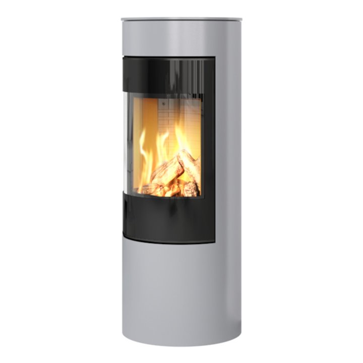 Rais Viva 120L Balanced Flue Gas Stove Silver Black Glass Framed Door Solid Sides - Silver Filigree
