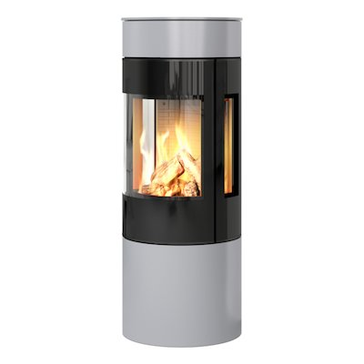 Rais Viva 120L Balanced Flue Gas Stove Silver Black Glass Framed Door Side Glass Windows