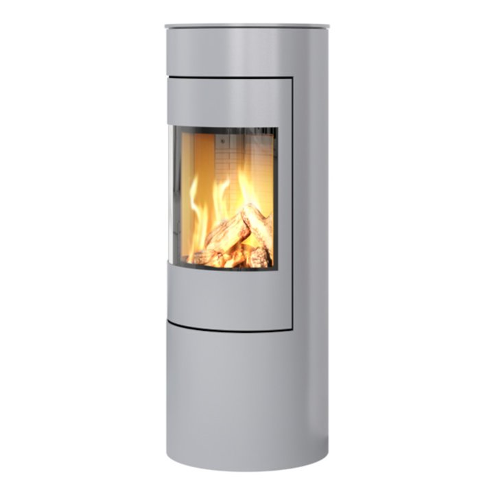 Rais Viva 120L Balanced Flue Gas Stove Silver Metal Framed Door Solid Sides - Silver Filigree