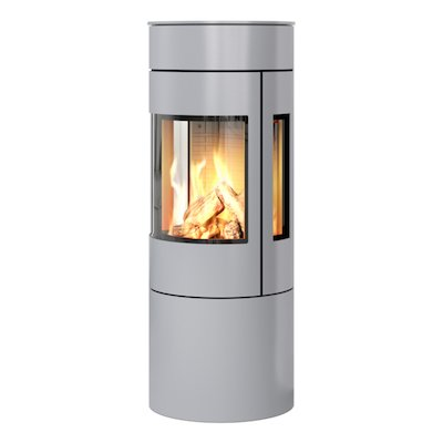 Rais Viva 120L Balanced Flue Gas Stove Silver Metal Framed Door Side Glass Windows
