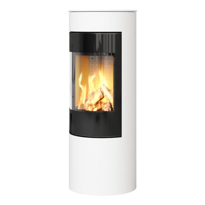 Rais Viva 120L Balanced Flue Gas Stove White Black Glass Framed Door Solid Sides - White