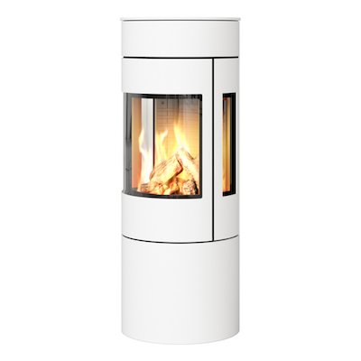 Rais Viva 120L Balanced Flue Gas Stove White Metal Framed Door Side Glass Windows