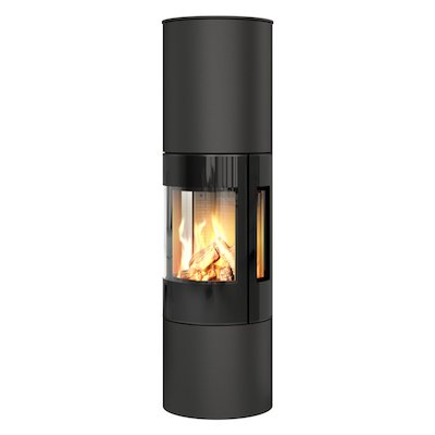 Rais Viva 160L Balanced Flue Gas Stove Black Black Glass Framed Door Side Glass Windows