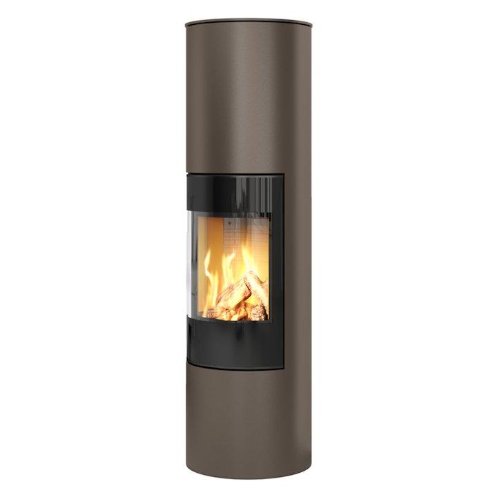 Rais Viva 160L Balanced Flue Gas Stove Mocha Black Glass Framed Door Solid Sides - Mocha