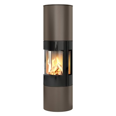 Rais Viva 160L Balanced Flue Gas Stove Mocha Black Glass Framed Door Side Glass Windows
