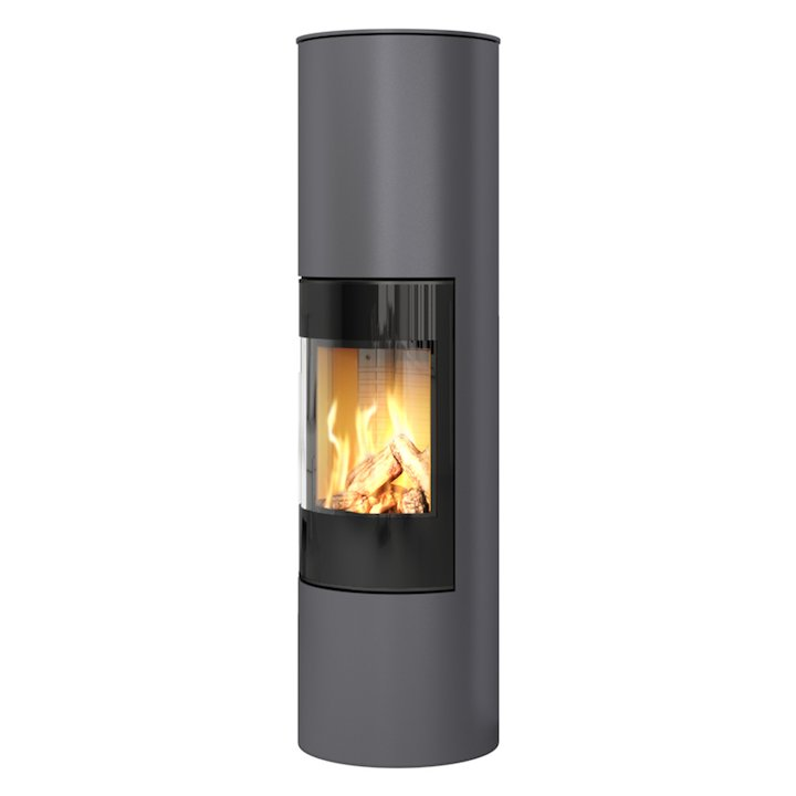 Rais Viva 160L Balanced Flue Gas Stove Platinum Black Glass Framed Door Solid Sides - Platinum