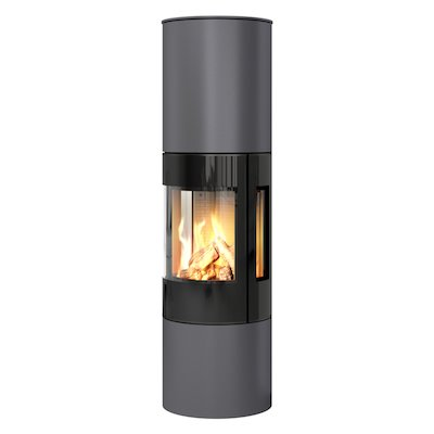 Rais Viva 160L Balanced Flue Gas Stove Platinum Black Glass Framed Door Side Glass Windows