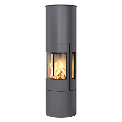 Rais Viva 160L Balanced Flue Gas Stove Platinum Metal Framed Door Side Glass Windows