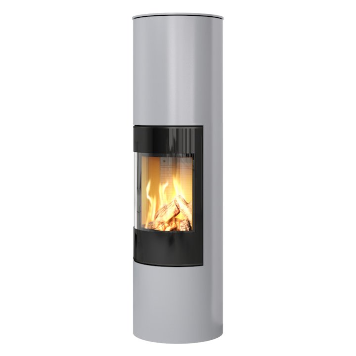Rais Viva 160L Balanced Flue Gas Stove Silver Black Glass Framed Door Solid Sides - Silver Filigree