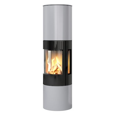 Rais Viva 160L Balanced Flue Gas Stove Silver Black Glass Framed Door Side Glass Windows