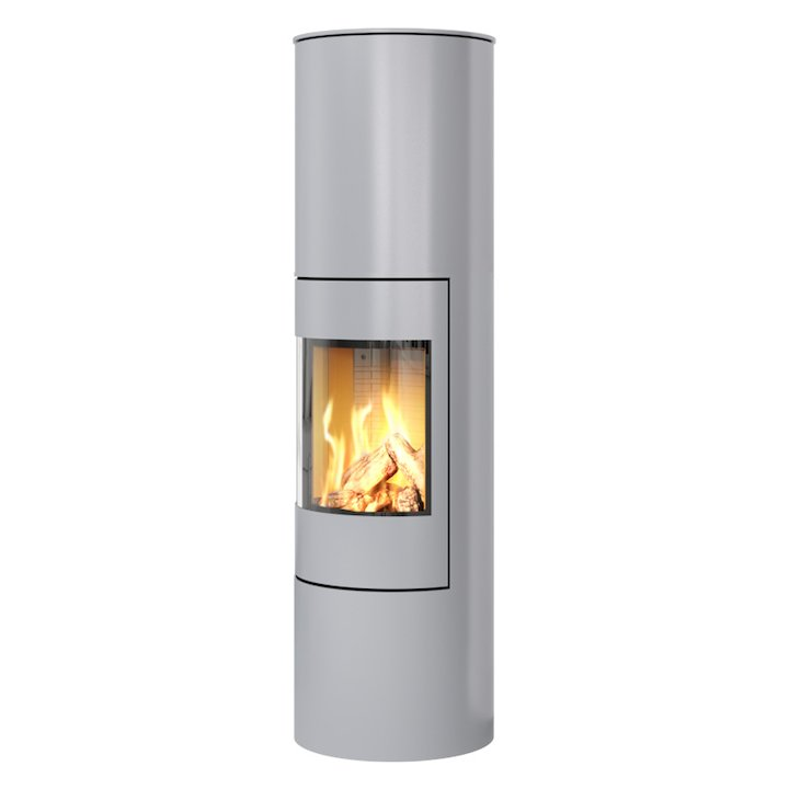 Rais Viva 160L Balanced Flue Gas Stove Silver Metal Framed Door Solid Sides - Silver Filigree