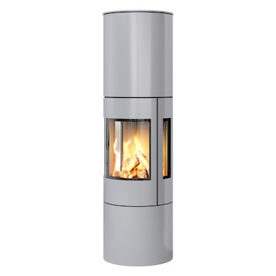 Rais Viva 160L Balanced Flue Gas Stove Silver Metal Framed Door Side Glass Windows