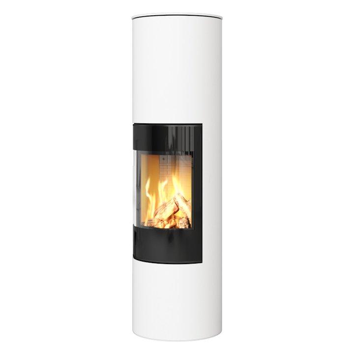 Rais Viva 160L Balanced Flue Gas Stove White Black Glass Framed Door Solid Sides - White