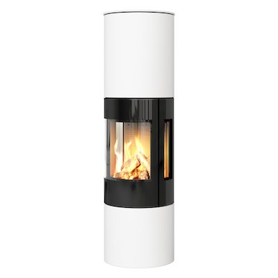 Rais Viva 160L Balanced Flue Gas Stove White Black Glass Framed Door Side Glass Windows