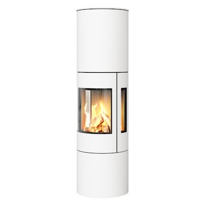 Rais Viva 160L Balanced Flue Gas Stove White Metal Framed Door Side Glass Windows