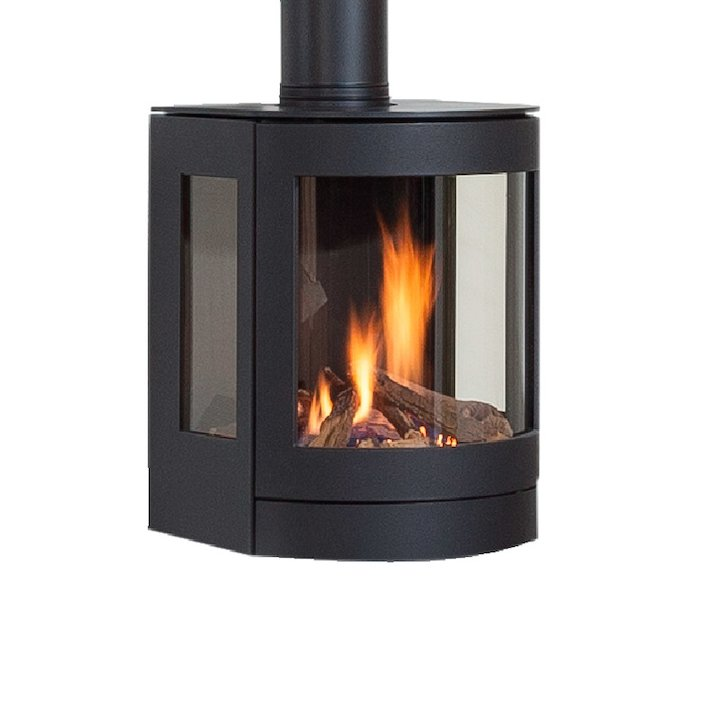 Wanders Balsa Wall Mounted Balanced Flue Gas Stove - Black