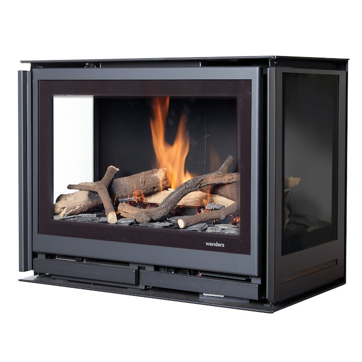 Wanders Square 60G Trilateral Wall Mounted Balanced Flue Gas Stove - Black