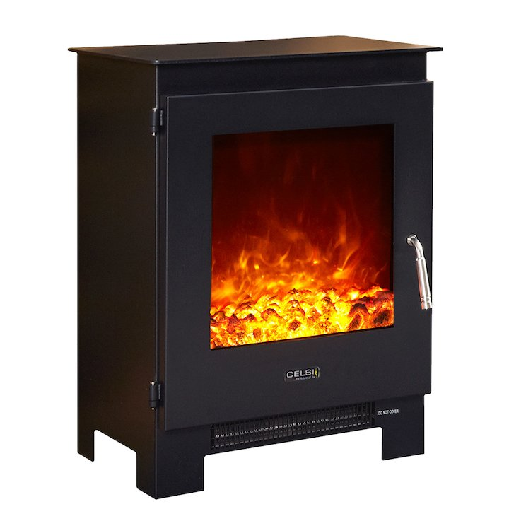 Celsi XD1 Electric Stove Black Metal Framed Door - Black