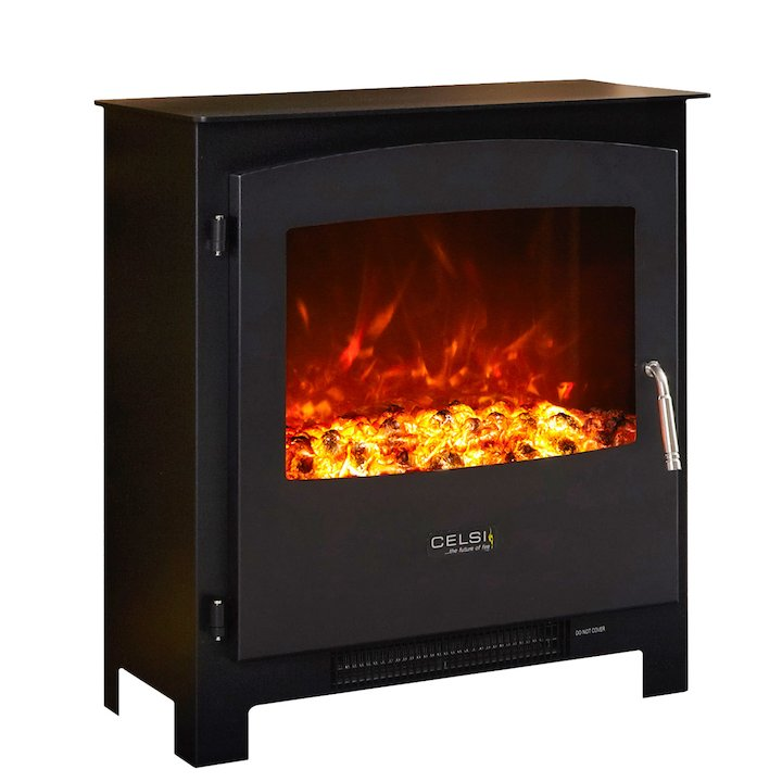 Celsi XD2 Electric Stove Black Metal Framed Door - Black