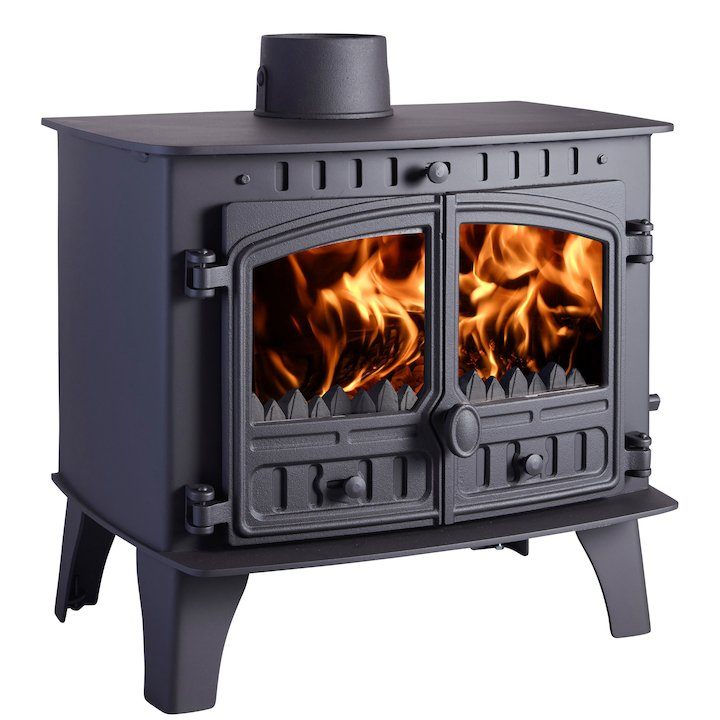 Hunter Herald 14 Multifuel Boiler Stove Black Double Doors - Black