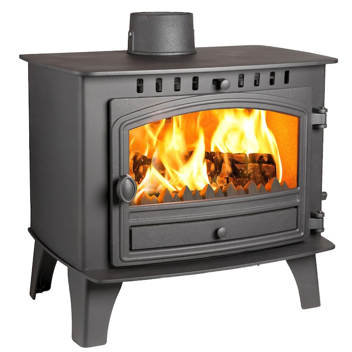 Hunter Herald 14 Multifuel Boiler Stove Black Single Door - Black
