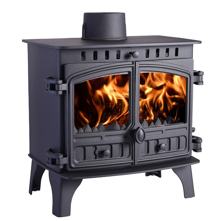 Hunter Herald 8 Multifuel Boiler Stove Black Double Doors - Black