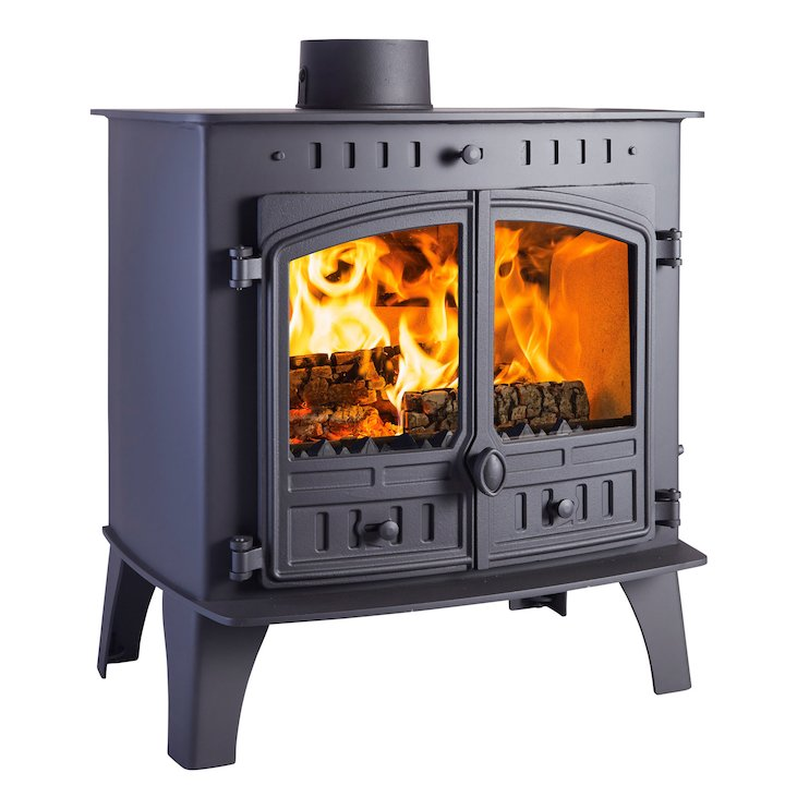 Hunter Herald 80B Multifuel Boiler Stove Black Double Doors - Black