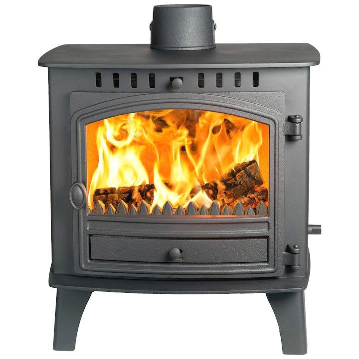 Hunter Herald 80B Multifuel Boiler Stove Black Single Door - Black