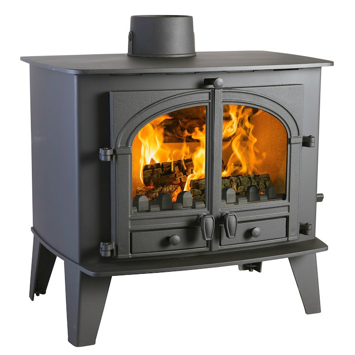 Parkray Consort 15 Multifuel Boiler Stove Black Double Doors - Black