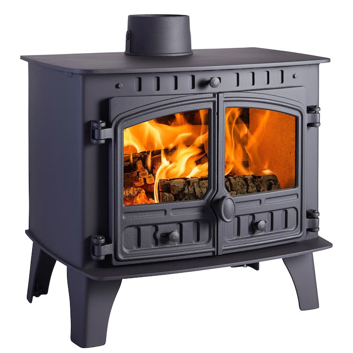 Hunter Herald 14 Wood Boiler Stove Black Double Doors - Black