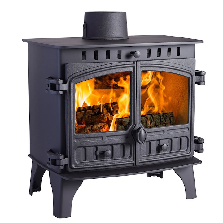 Hunter Herald 8 Wood Boiler Stove Black Double Doors - Black
