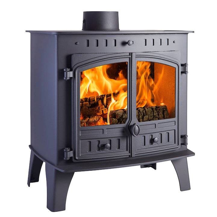 Hunter Herald 80b Wood Boiler Stove Black Double Doors - Black