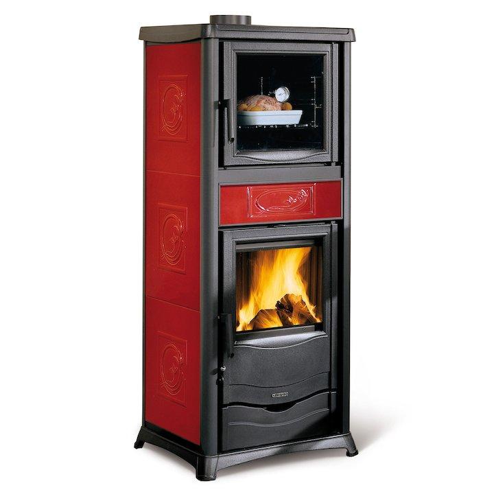 La Nordica Thermo Rosella Plus Forno DSA Wood Boiler Stove - With Oven - Bordeaux