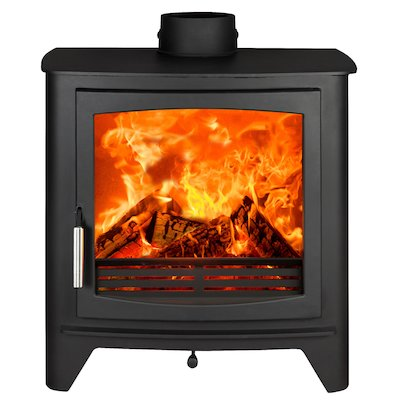 Parkray Aspect 80B Wood Boiler Stove Black Silver Handles
