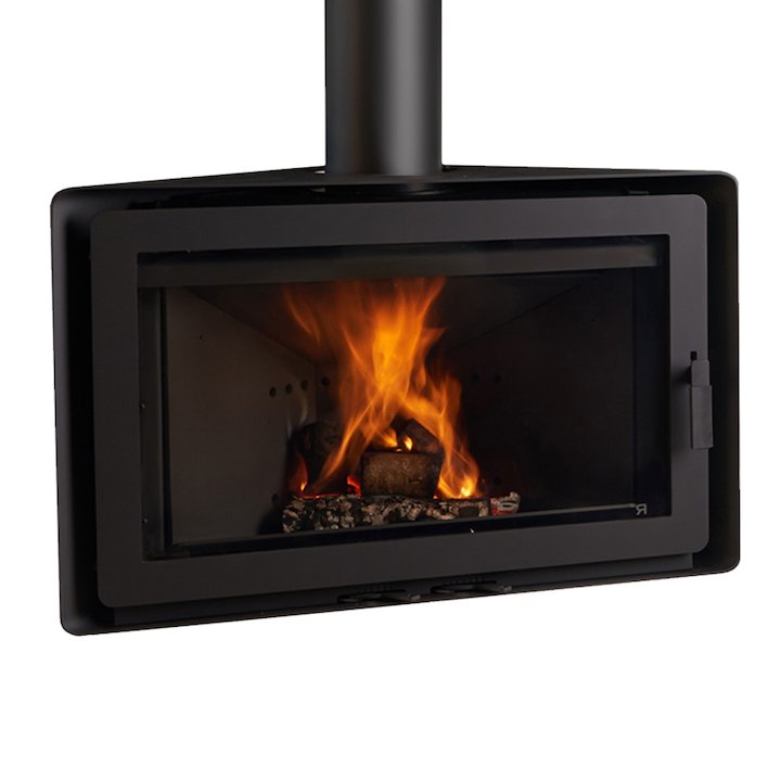 Rocal Angle Wall Mounted Wood Stove Black Fixed - Black
