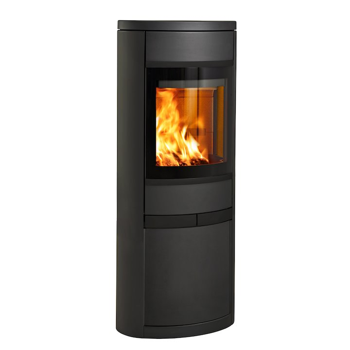 Scan 68 Cupboard Wood Stove Black Solid Sides Black Trim - Black