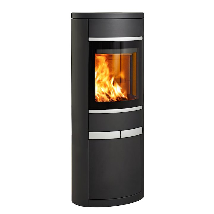 Scan 68 Cupboard Wood Stove Black Solid Sides Silver Trim - Black