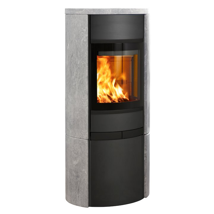 Scan 68 Cupboard Wood Stove Black/Soapstone Solid Sides Black Trim - Black / Soapstone