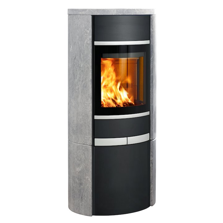 Scan 68 Cupboard Wood Stove Black/Soapstone Solid Sides Silver Trim - Black / Soapstone